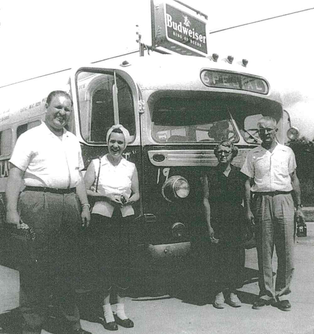 Superintendent L.C. Crouch, Mrs. Crouch, Ethel Cox, and Shorty Cox, our driver.  I don't remember stopping for a beer break, was I asleep?