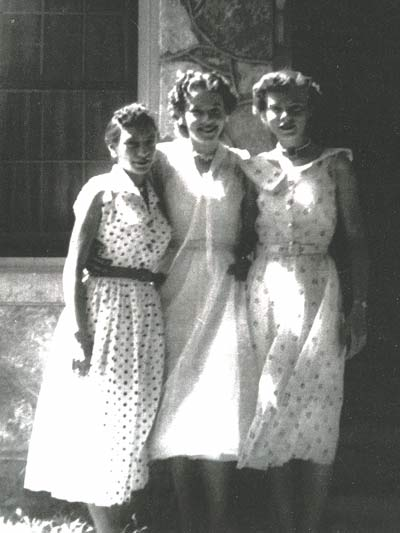 Juanita Bacon, Mary Ann Jones, and Letha Pickett. Back when girls wore dresses; don't they look nice?