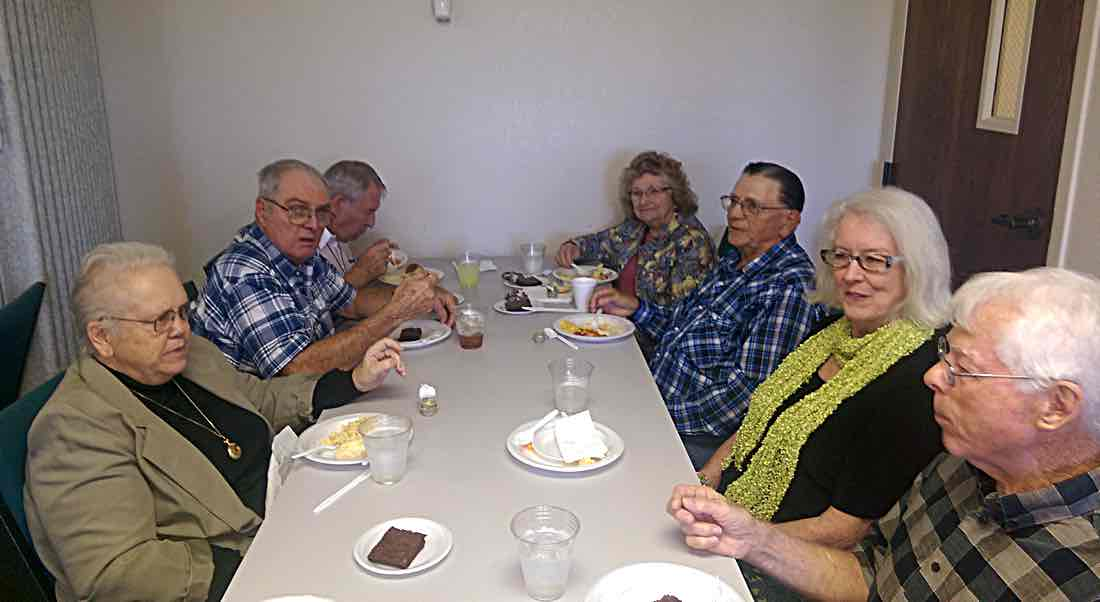 Left to right: Ann Young, Marion Futhey, Dick Albright, Charlene & Don Davis, Paula & Rich Pearson.