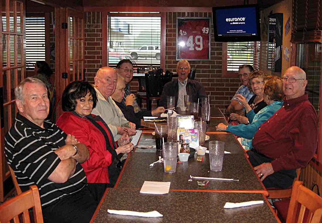 At Pizza Hut. Dick & Leota, Larry & Ann, Bill, Rich, Don & Charlene, Cecilia & Ray.